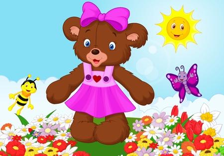 Happy bear cartoon Vector