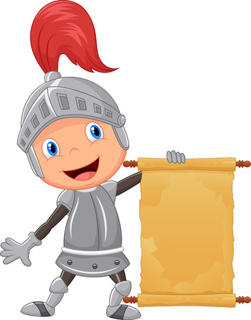 cartoon knight: Cartoon knight boy holding blank announcement
