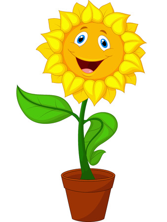 flowers cartoon: Sunflower cartoon Illustration