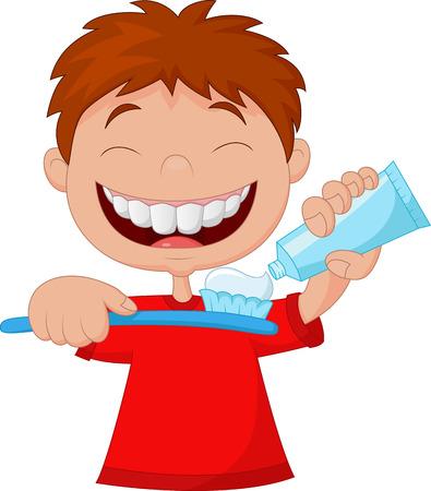 molares: Kid apretando pasta de dientes en un cepillo de dientes Vectores