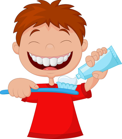 brush the teeth: Kid squeezing tooth paste on a toothbrush