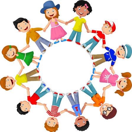 niños de diferentes razas: Círculo de diferentes razas de niños felices