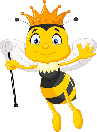 bee on white flower: Queen bee cartoon