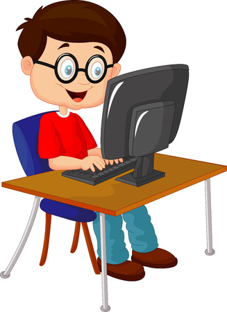 Kid cartoon with personal computer Vector