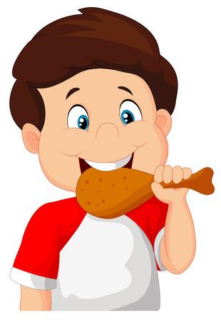 dine: Cartoon boy eating fried chicken