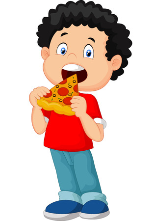fast eat: Cartoon boy eating pizza