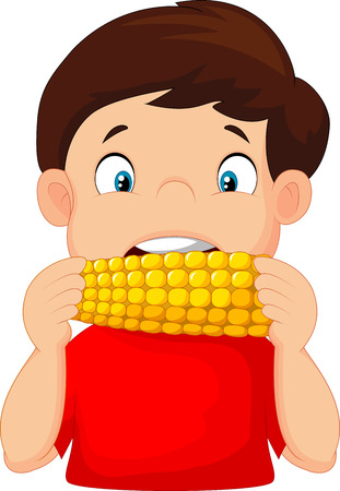 Cartoon boy eating corn 向量圖像