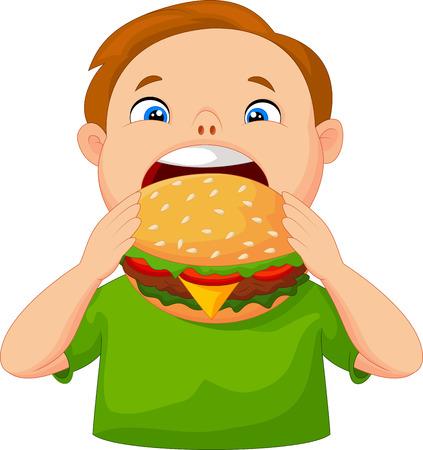 Boy eating burger Vector