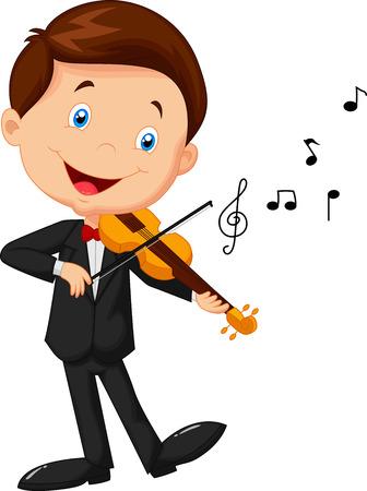 Little boy playing violin Vector