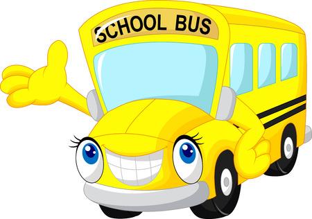 cartoon truck: Autob�s escolar de dibujos animados