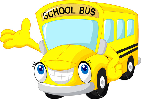 cartoon mascot: School bus cartoon