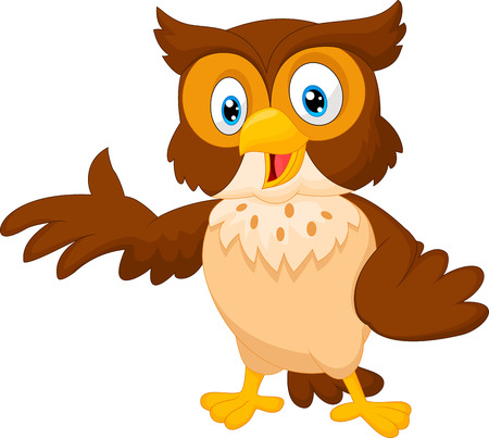 young animal: Cute owl cartoon waving
