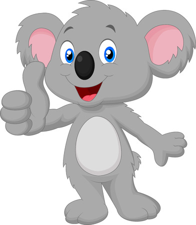 Cute koala giving thumb up Stock Illustratie