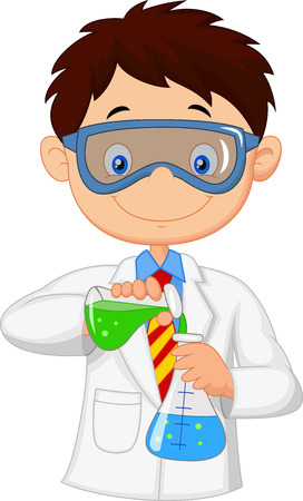 Boy doing chemical experiment Vector