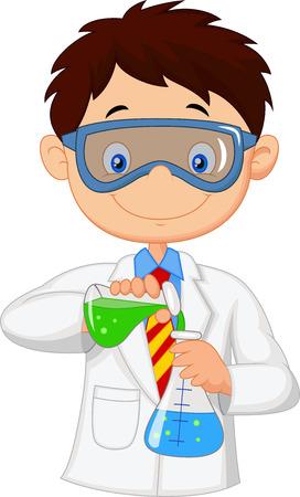 scientists: Chico haciendo experimento químico Vectores