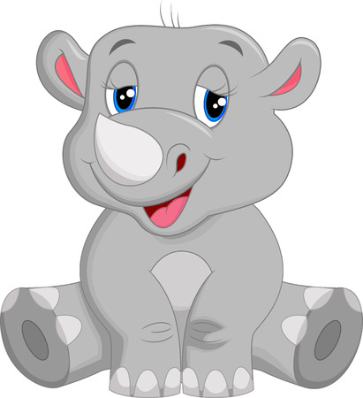 Happy rhino cartoon sitting Vector