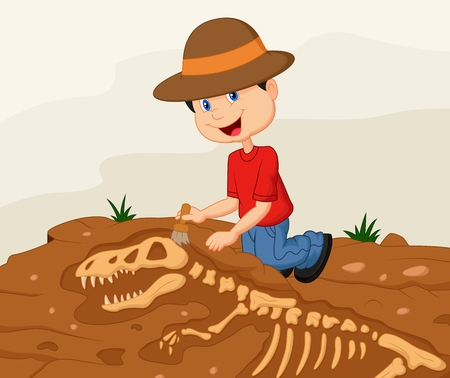 Child archaeologist excavating for dinosaur fossil Vector