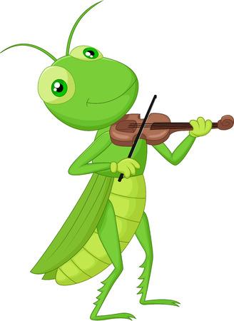 Grasshopper with a Violin Vector