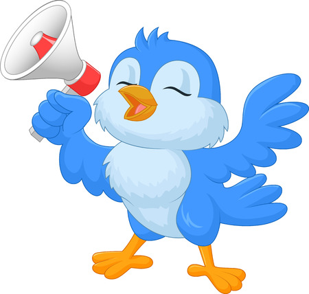 announcement icon: Cartoon bluebird with megaphone Illustration