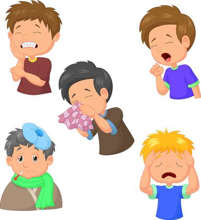 mal di denti: Il ragazzo � malato di raccolta Vettoriali