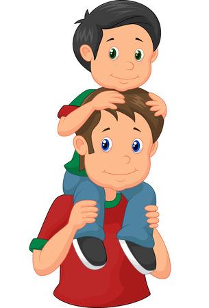 shoulder ride: Father giving his son piggyback ride Illustration