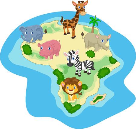 African animal cartoon Vector