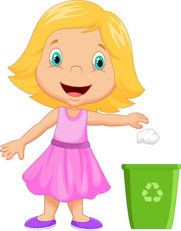 cesto basura: Chica joven que lanza la basura en la papelera