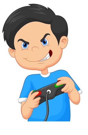Child plays games on video game console Vector