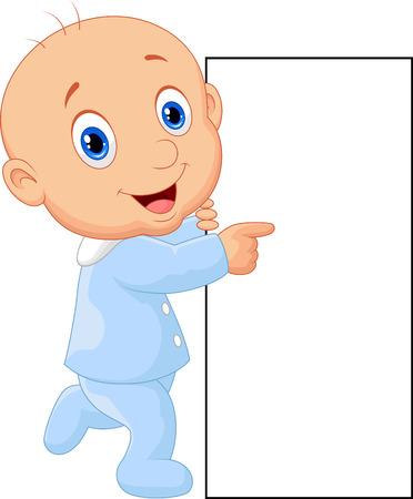Cartoon baby boy with blank sign Vector