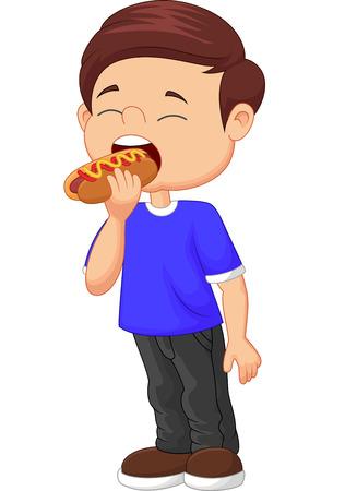 Cartoon boy eating hot dog Vector