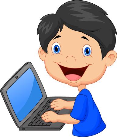 Garçon avec un ordinateur portable
