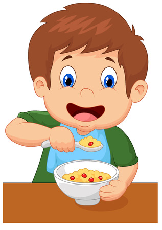 Boy is having cereal for breakfast Vectores