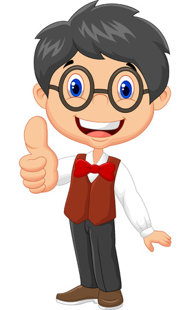 boy with glasses: Cartoon boy giving thumb up
