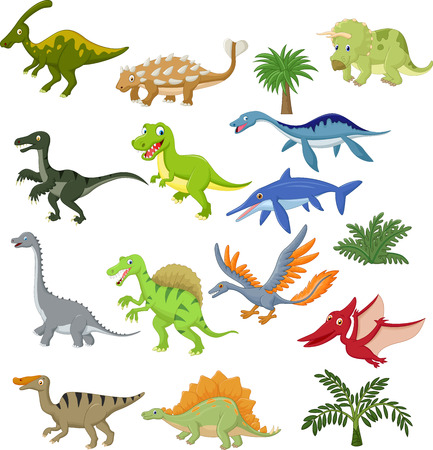 Dinosaur cartoon collection set Vector