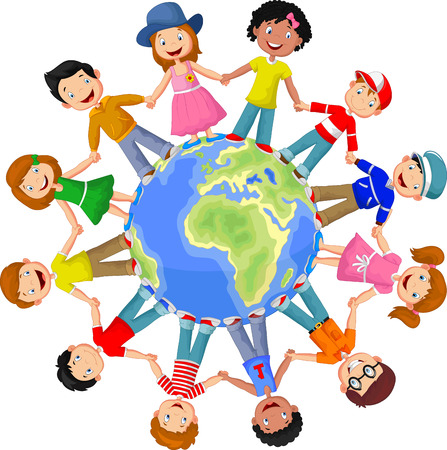 small world: Circle of happy children different races Illustration