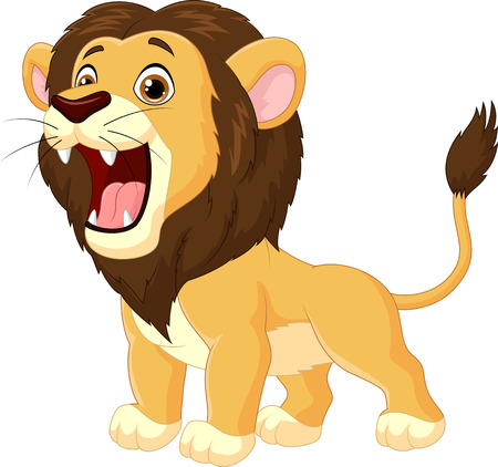lion dessin: Cartoon lion rugissant Illustration