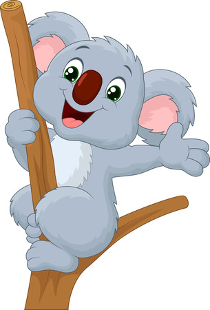 Cute koala waving hand Vector