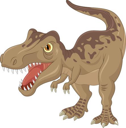 dinosaurio caricatura: Dibujos animados tyrannosaurus enojado