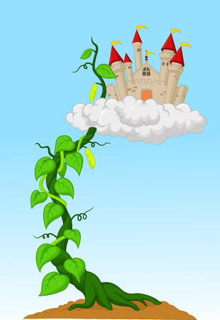 Bean sprout with castle in the clouds Vector