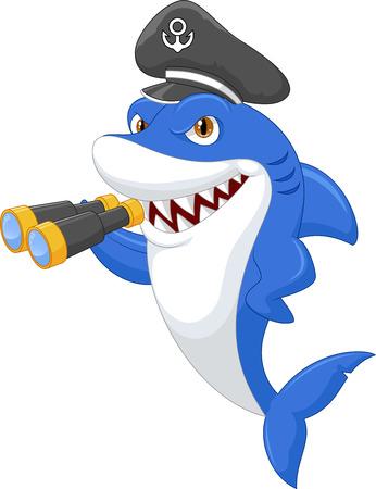 Cute shark holding binocular Vector
