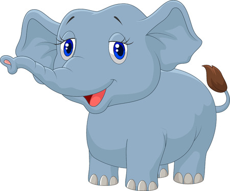 Young elephant cartoon Vector