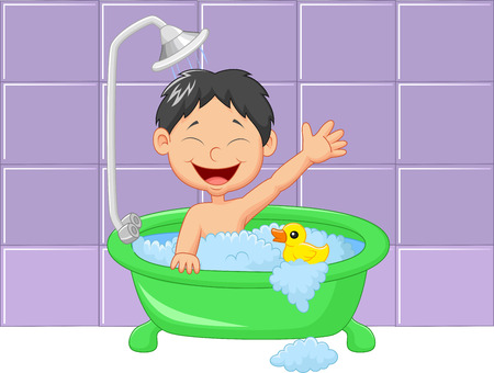 cleanliness: Cute cartoon boy having bath