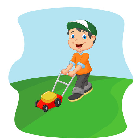 푸시 잔디 깎는 기계 잔디를 절단하는 젊은 남자