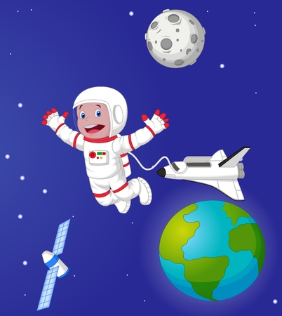 orbital spacecraft: The astronaut in outer space Illustration