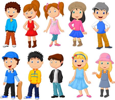 Dzieci: Śliczne dzieci cartoon kolekcji Ilustracja