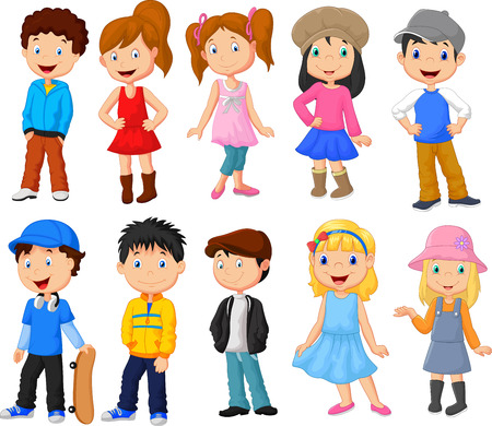children group: Cute children cartoon collection Illustration