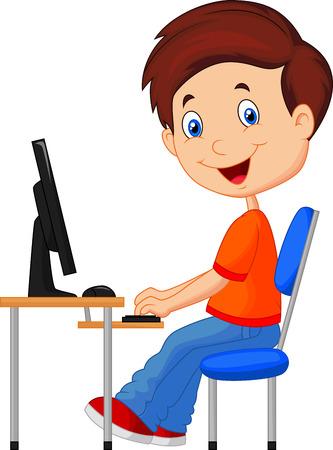trabajando en computadora: Kid con el ordenador personal Vectores