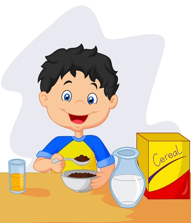 little boy having breakfast cereals with milk Ilustração