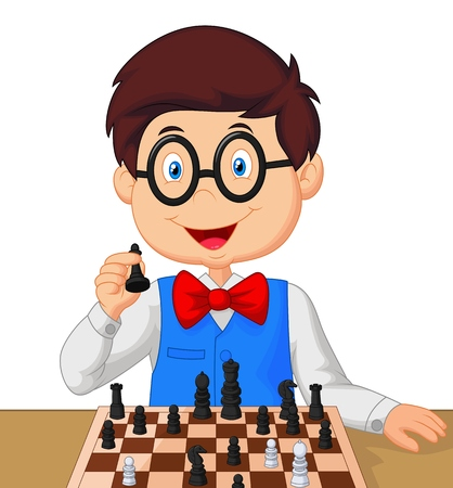 boy with glasses: Little boy playing chess