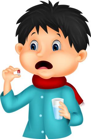 cough medicine: Sicked boy swallows pill